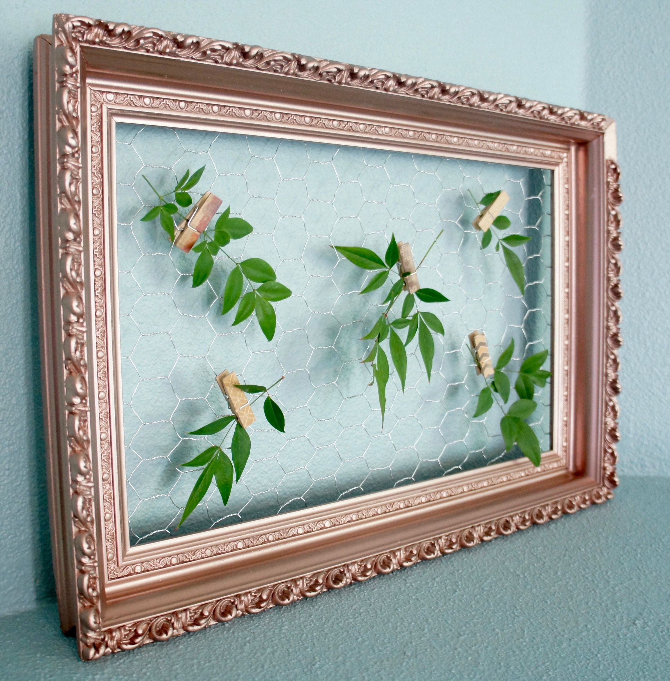 Rose Gold Vintage Floral Frame with Chicken Wire: wedding, bridal ...
