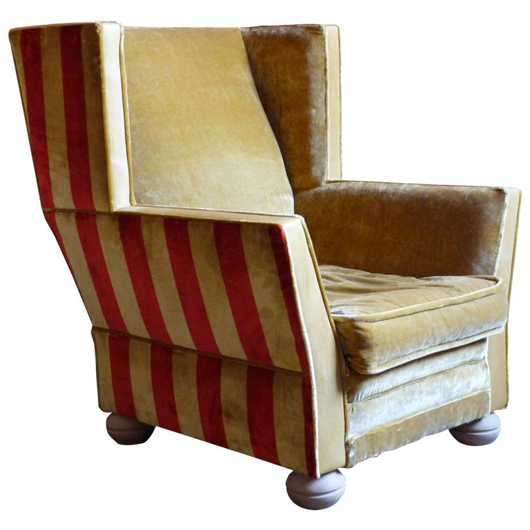 Wonderful Art Deco Wing Chair, 1920u0027s Belgium! Love! (minus The Bun Feet)