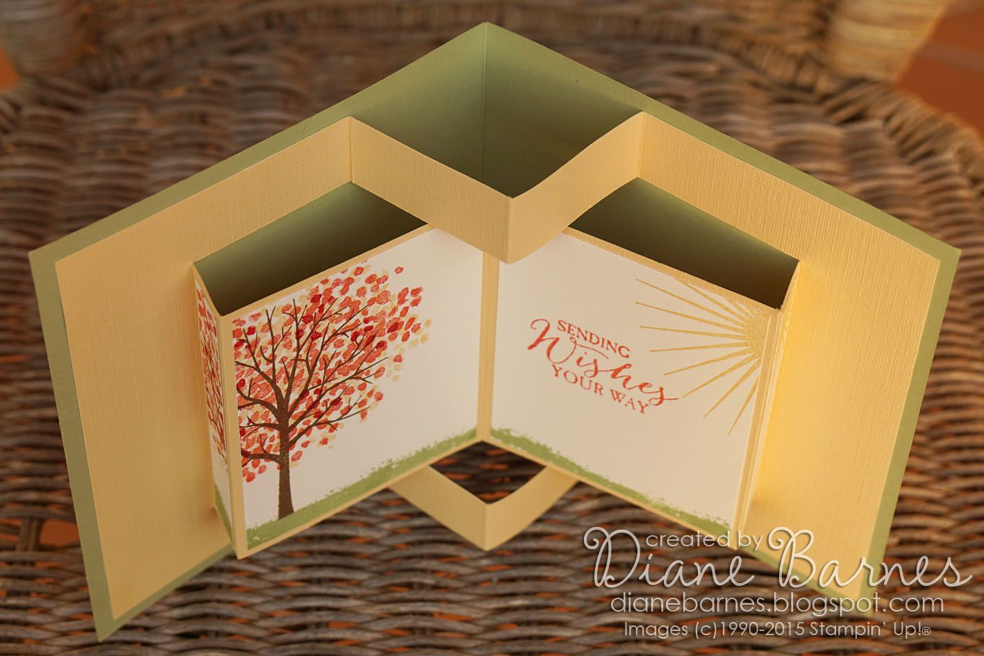 Pop Up Book Fancy Fold Card Using Stampin Up Sheltering Tree With