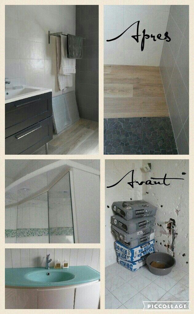 avant / apresla nouvelle salle de bain ! meuble anthracite mr