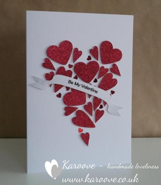 fun handmade Valentine red glittery hearts made into one heart – Valentine Heart Cards