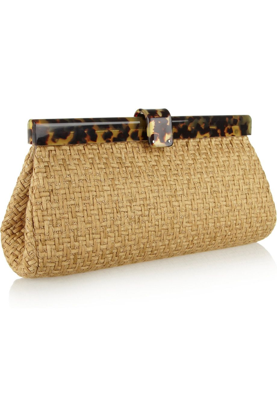 Ralph Lauren Woven-twill and tortoiseshell acetate clutch  b8083439c26c4
