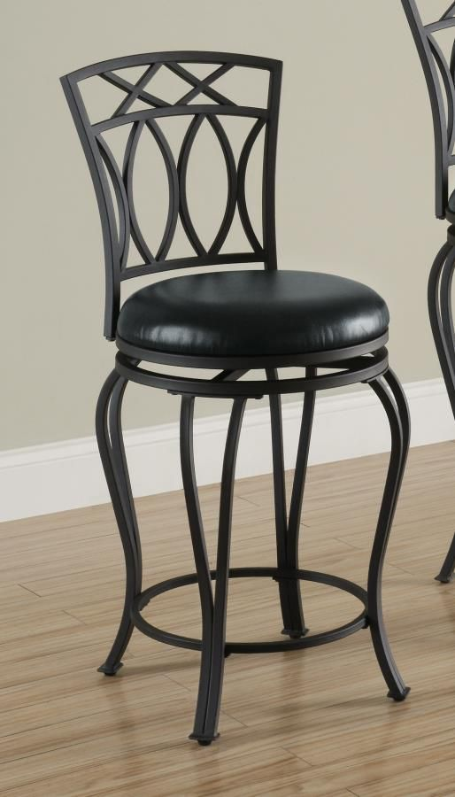 Black Metal Swivel 24 Inch Seat Counter Stool Chair By Coaster