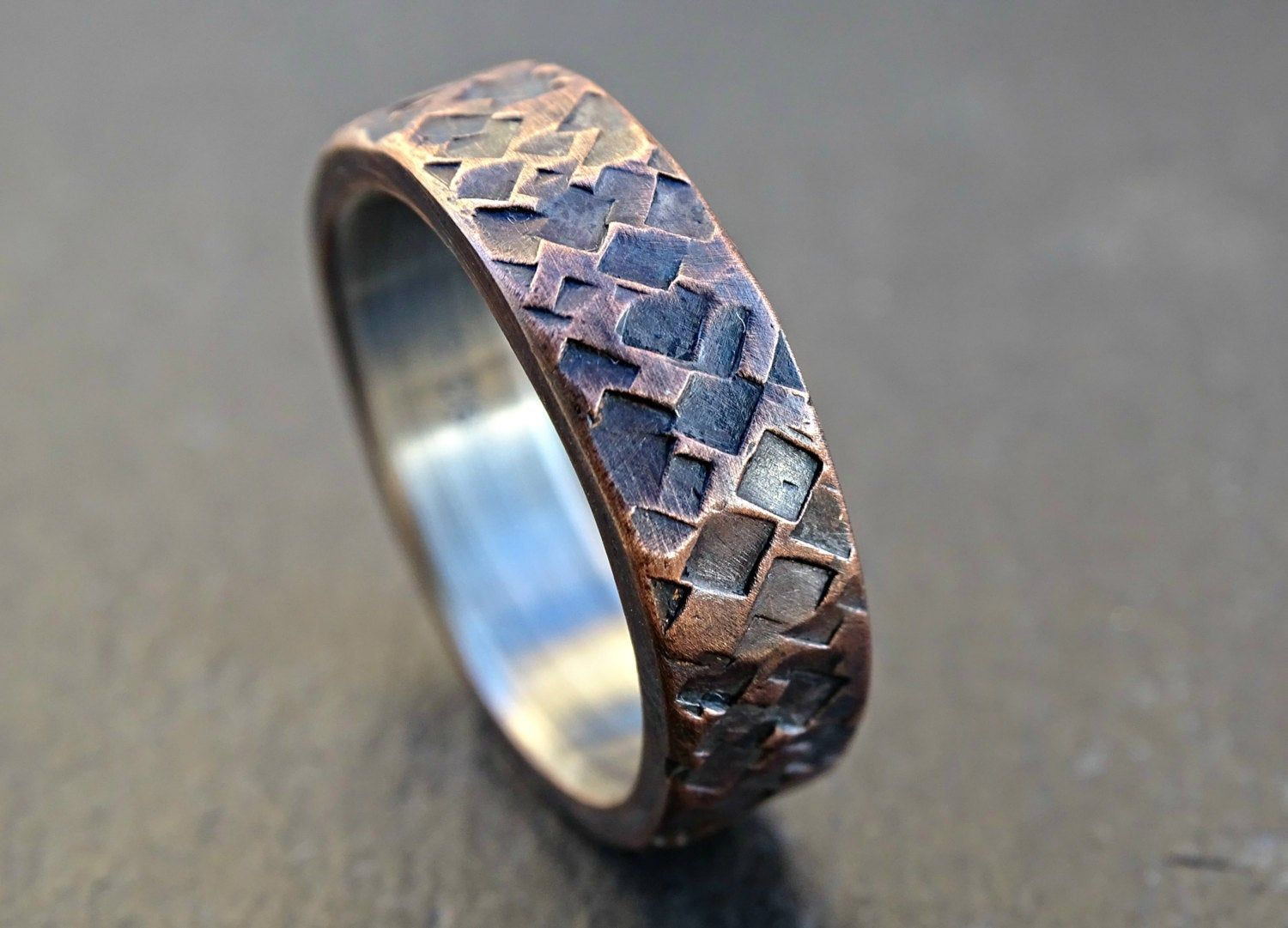 Rustic copper silver wedding ring, mens promise ring