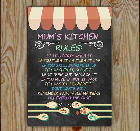 Kitchen Rules, Mum's, Kitchen Rules, Metal Tin Plaque | Chalk board (effect) Kitchen Rule Tin Metal #kitchenrules