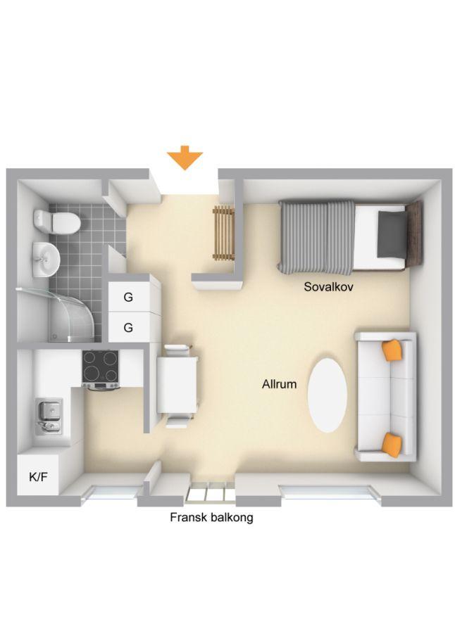 les petites surfaces du jour un studio en noir et bleu plans small house design tiny. Black Bedroom Furniture Sets. Home Design Ideas