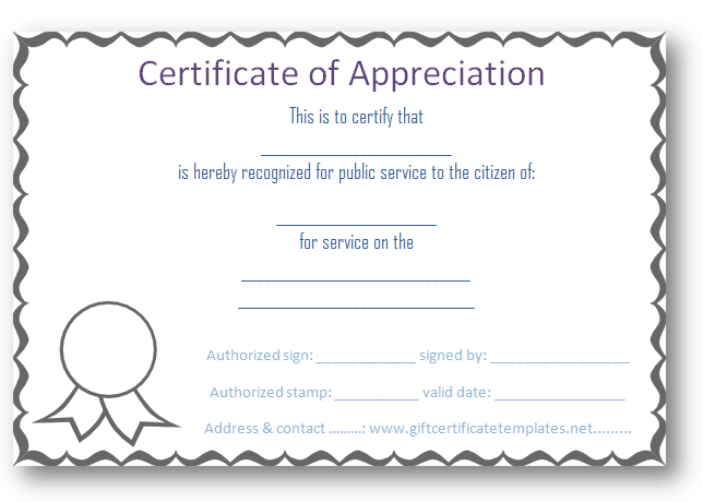 Free Certificate of appreciation template Purple Border – Thank You Certificate Wording