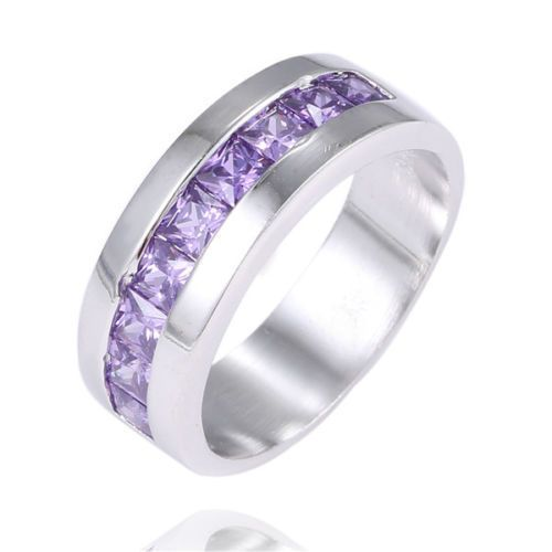 Beautiful .925 Sterling Silver Purple Ring Band Size 8 Marked .925 FREE SHIPPING #Band