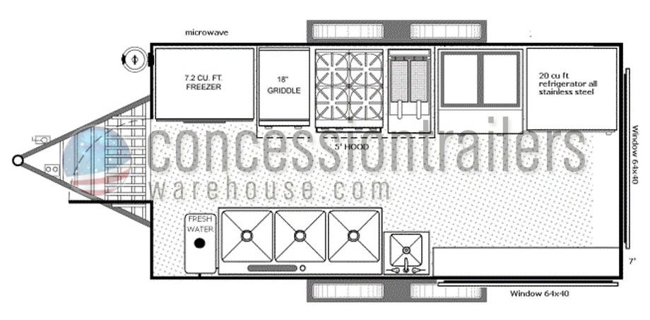 Concession Nation has 7x14 concession trailer floor plans