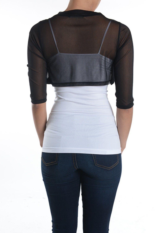 c637ac61af588 Fashion Secrets Junior`s Sheer Chiffon Bolero Shrug Jacket Cardigan 3/4  Sleeve (X-Small, Black)