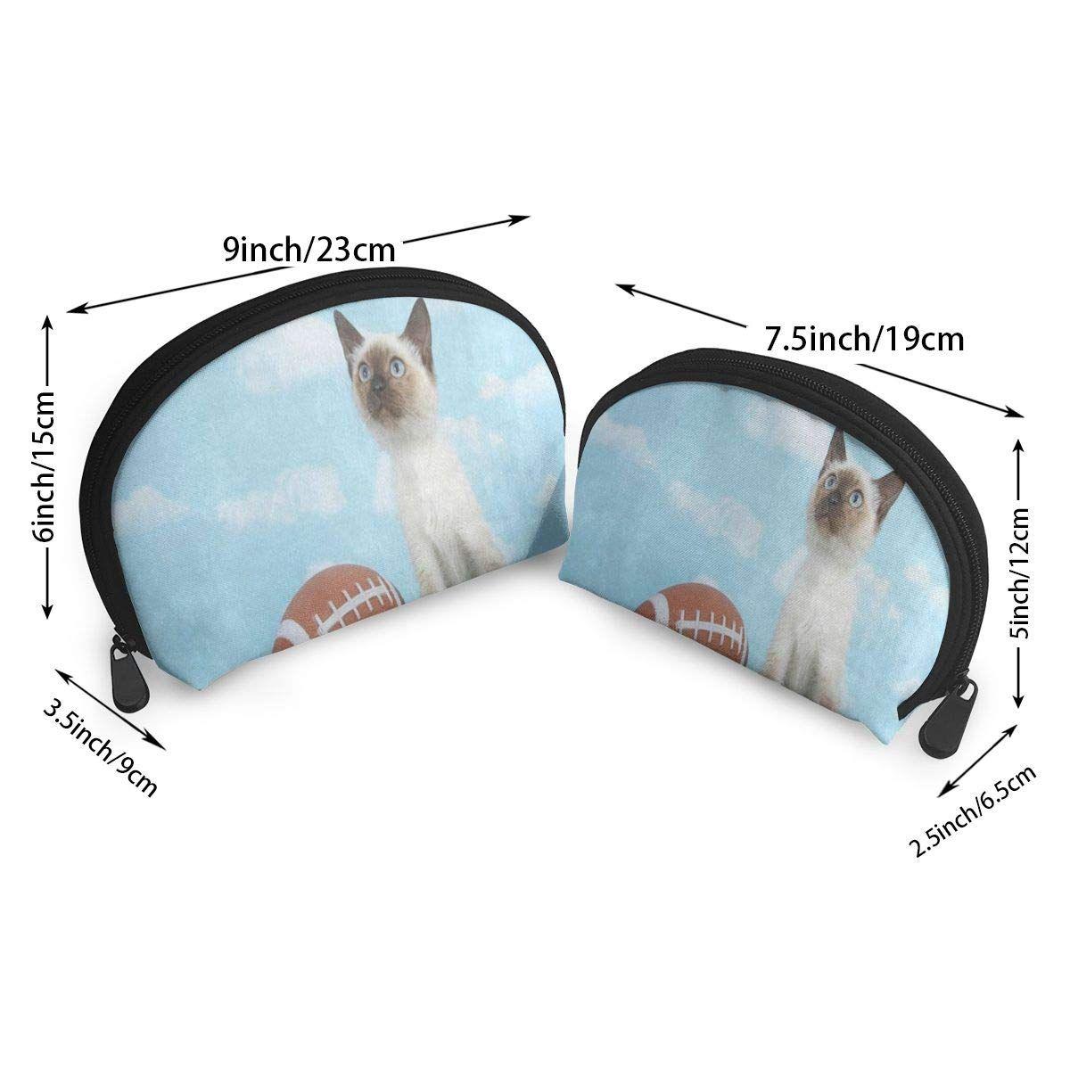 679ce91fa6 Makeup Bag Hipster Cat Kitten Green Grass Football Handy Shell Toiletry  Bags Storage For Women