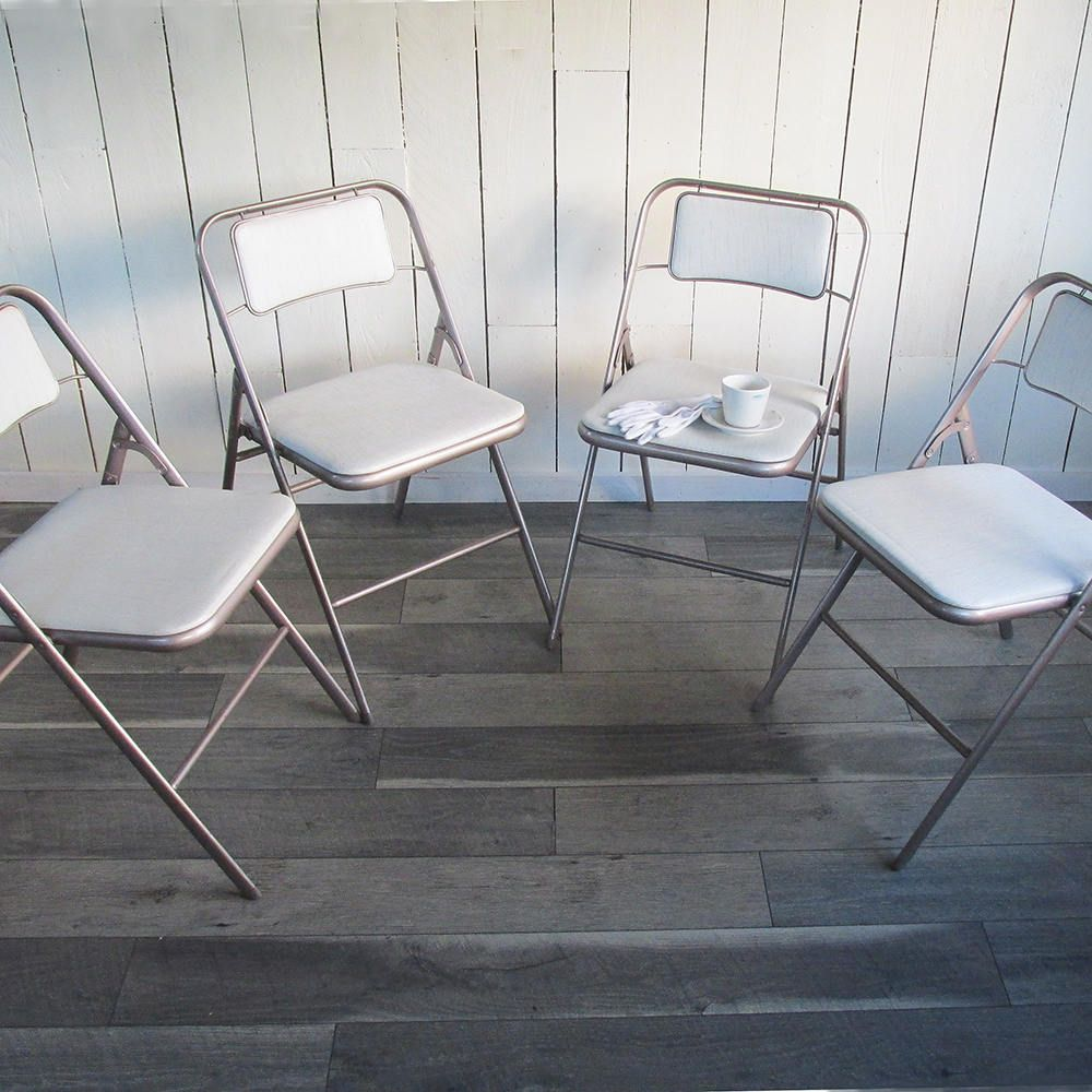 Peachy Set Of 4 Mid Century Samsonite Folding Chairs White And Creativecarmelina Interior Chair Design Creativecarmelinacom