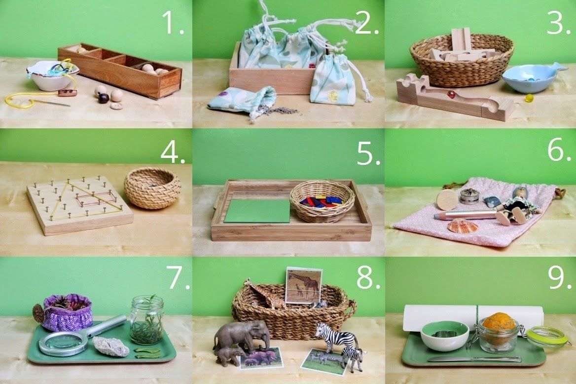 Montessori spielzeug auf ihrem regal jahre alt