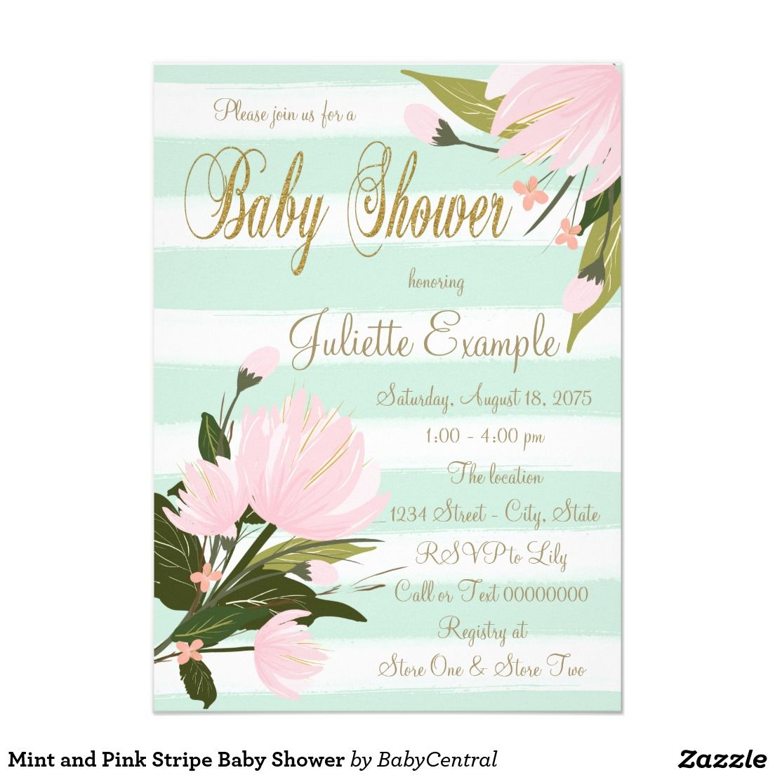 Mint and Pink Stripe Baby Shower 4.5x6.25 Paper Invitation Card ...