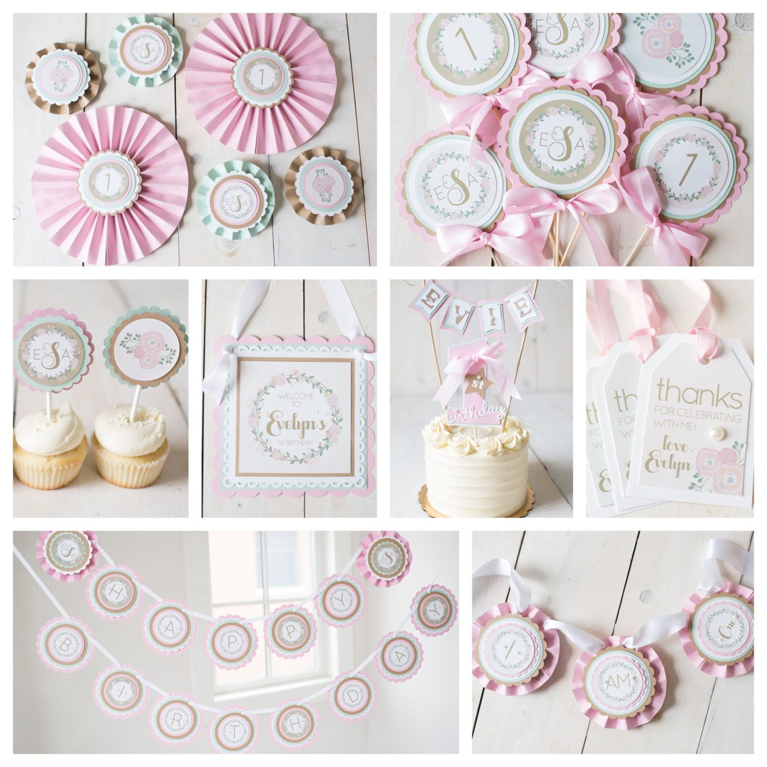 Girl 1st First Birthday Party Decorations Boutique 8 piece