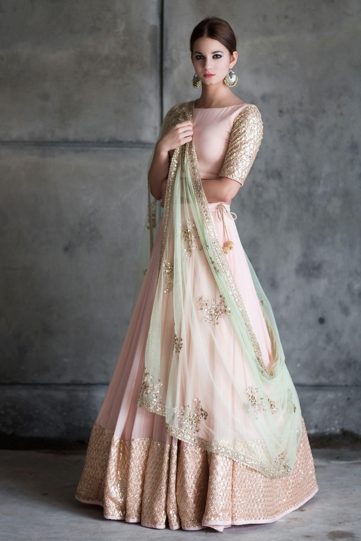 fb9b600d7dd Buy Blush pink & gold embellished lehenga set by Prathyusha Garimella at  Aza Fashions Saris,