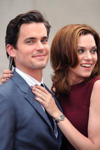 Matt Bomer and Hilarie Burton joked around on the set of White Collar in Manhattan in June 2011.