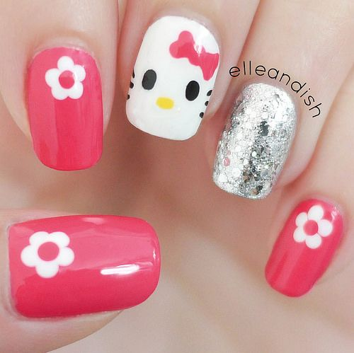 Easy Hello Kitty Nails Freehand Tutorial Elleandish Nails For