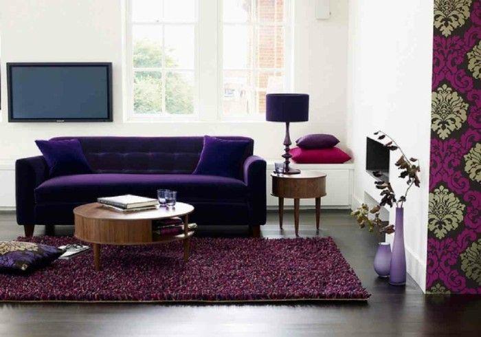 Wohnzimmer Lila ~ Teppich kaufen lila wohnzimmer bodenvasen innendesign