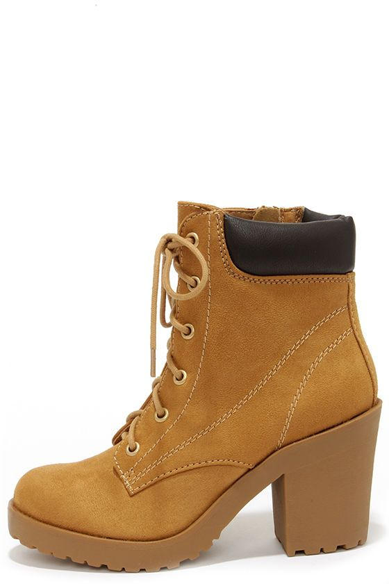 Flirty Work Tan High Heel Work Boots at LuLus.com! I really think these are  cute. 4e7cbceb385
