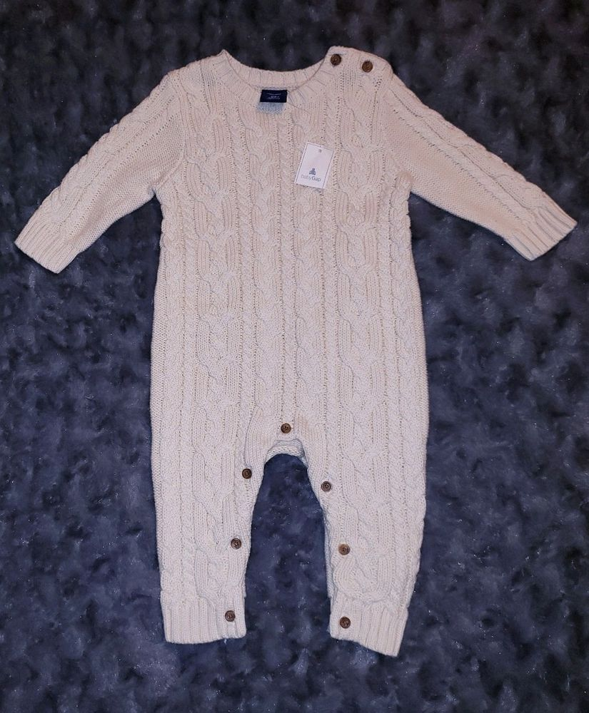 4d7a42c4fa35 NWT Baby Gap Boy Clothes 3-6 Months One Piece Beige Thick Knit ...