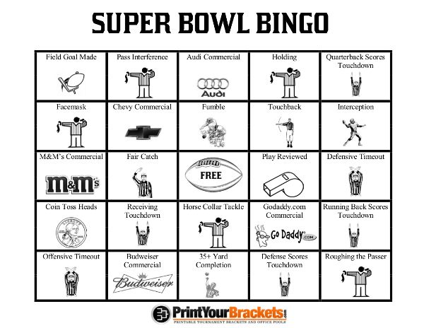 Printable Super Bowl Bingo Sheets  Super Bowl Party