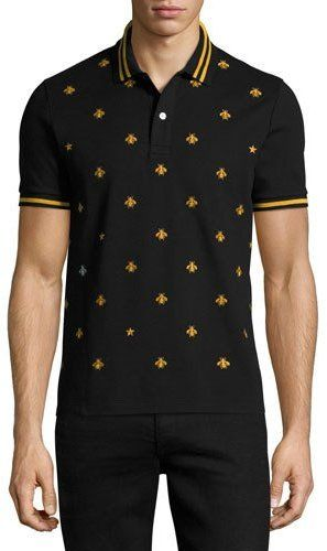 c9c671a6ac Gucci Cotton Polo w/Bees & Stars | Clothes | Polo, Gucci, Mens tops