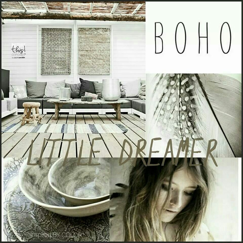 Moodboard  BOHO 'Little DREAMER' om heerlijk het weekend in te dromen.... #inspiredBYCOLOR