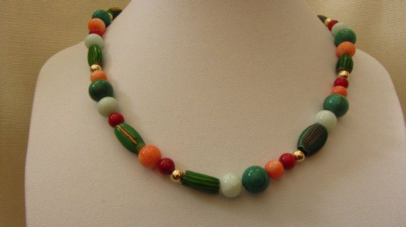 14k Solid Gold Vintage African Trade Beads, AAA Angelskin Coral, AA Sardinian Coral, Amazonite, Green Turquoise, 14k Beads Necklace 16 1/4""