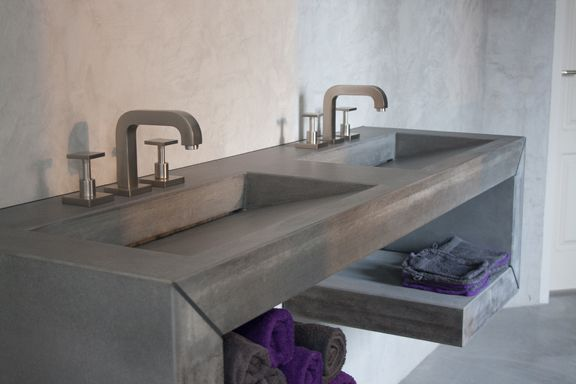 Afbeeldingsresultaat voor beton wasbak badkamer badkamer