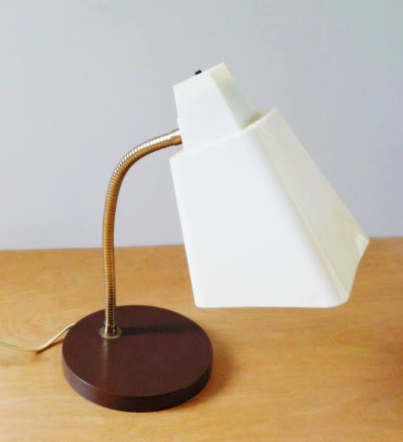 Gooseneck Desk Lamp 1960 S Vintage Lamp Brown And White Plastic Shade Vintage Lamps Lamp Desk Lamp