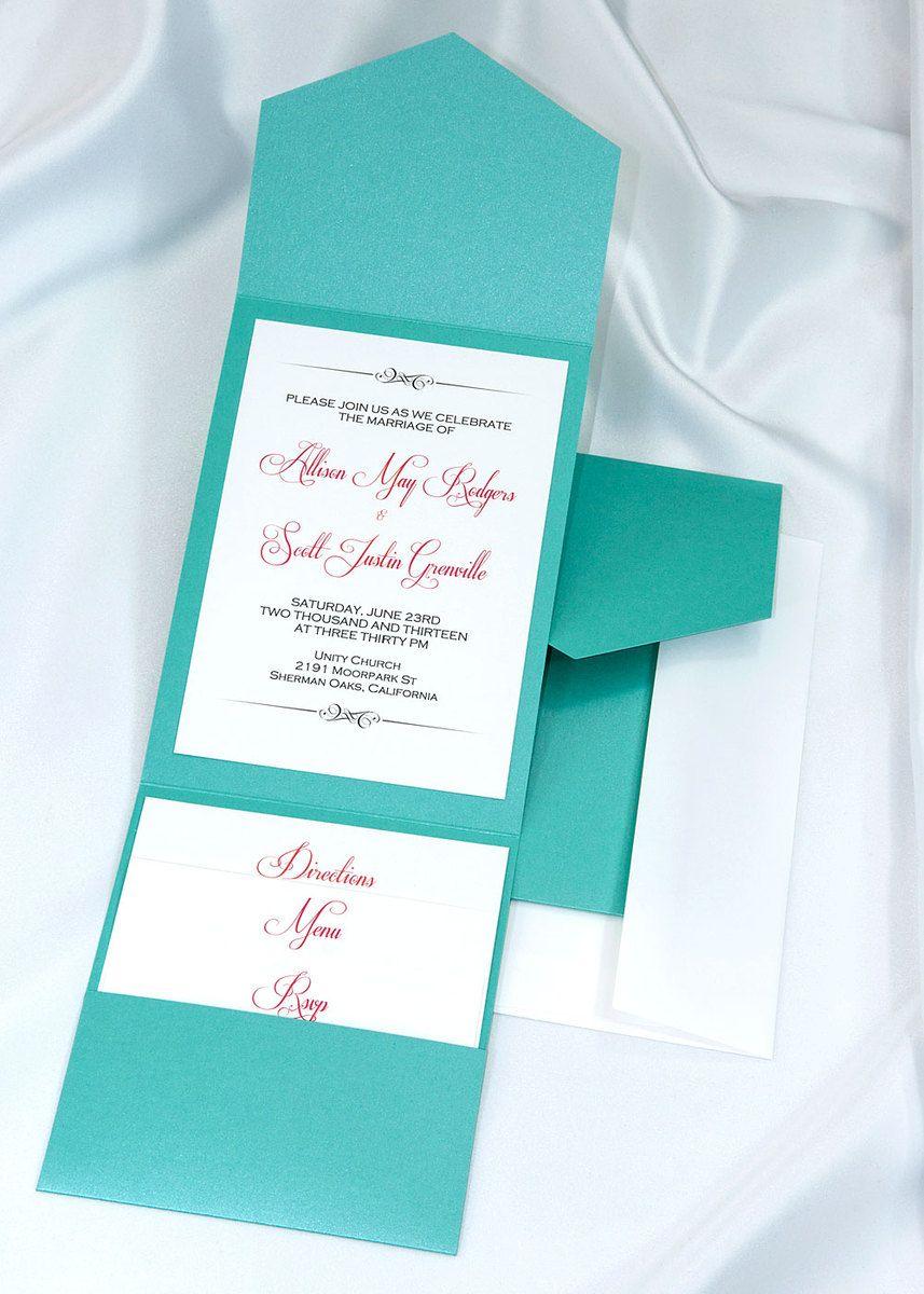 Print your own tiffany wedding invitations, Tiffany pocket wedding ...