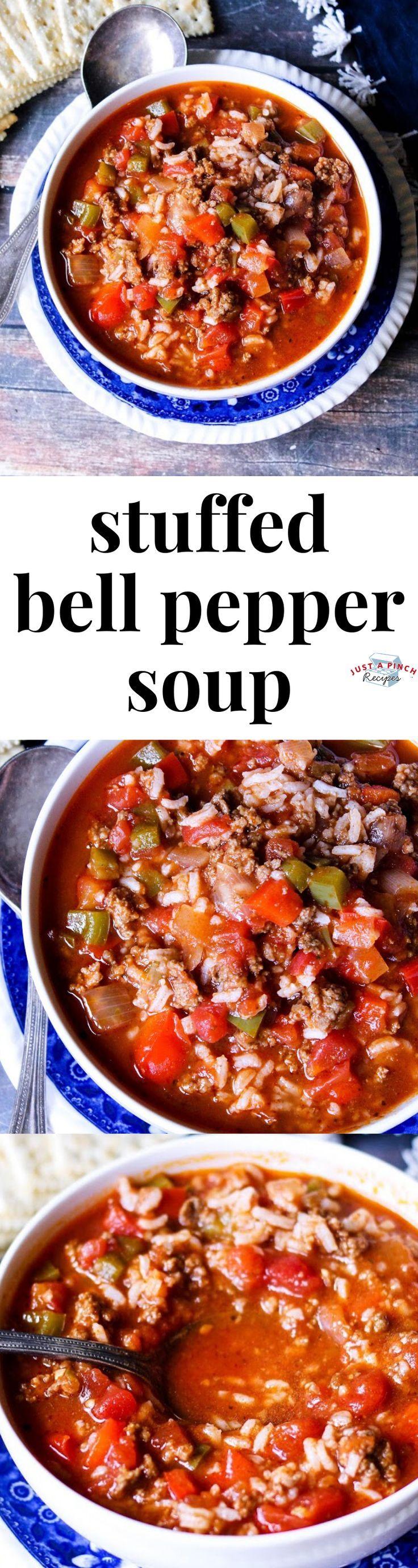 Stuffed Bell Pepper Soup Recipe In 2020 Stuffed Peppers Stuffed Pepper Soup Stuffed Bell Peppers