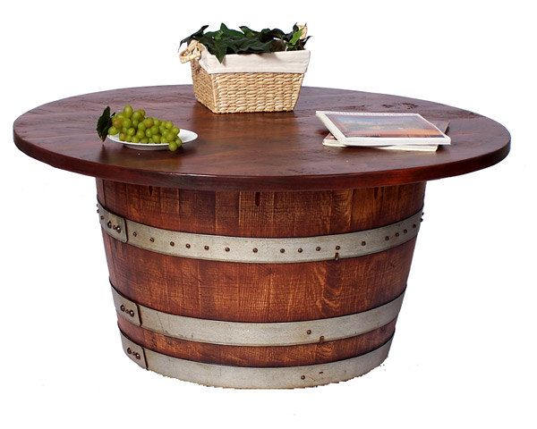 Half Barrel Tail Coffee Table Real Wine