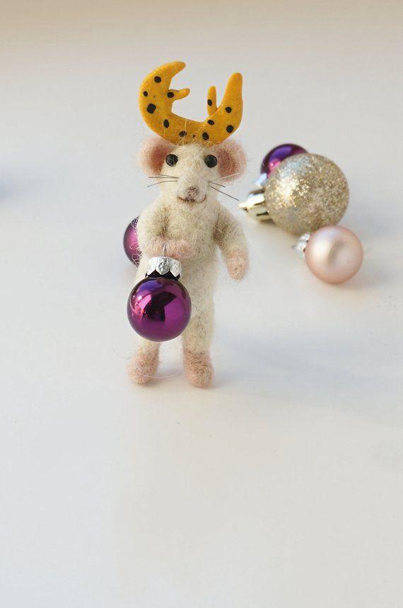 """Weiche Skulptur Miniatur Maus mit Fantasie Reh Hörner, Nadel Filz Kreatur """"Weihnachten Mäuse"""" In der Größe: 8cm"""
