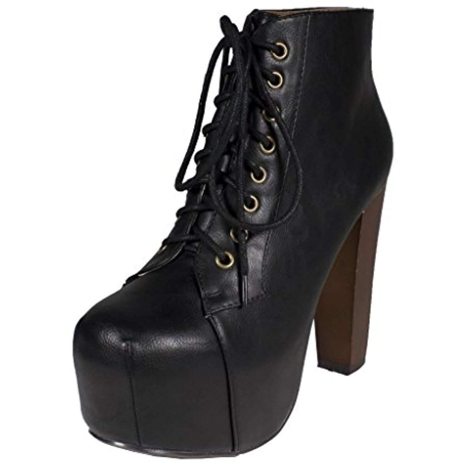 Lustacious Women's Lace Up Hidden Platform Ankle Booties with Wooden Block Chunky High Heels