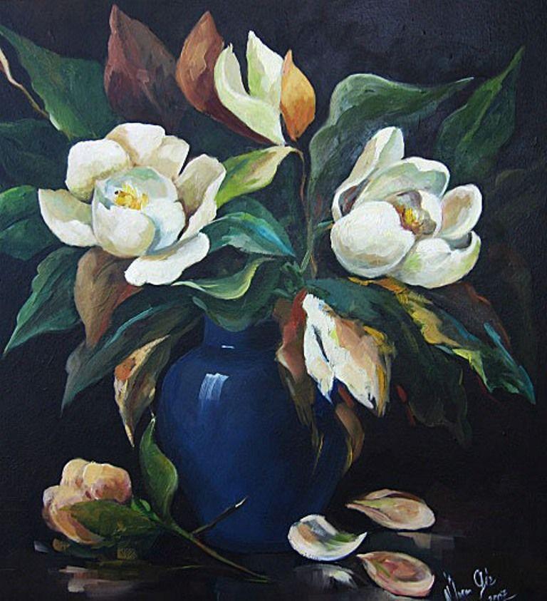 Mavi Vazoda Manolyalar Boyama 80x80x80 Cm Umran Giz Tarafindan Tuval Uzerine Yagliboya Mavi Vazolar Sanat Cicekler Resim Sanati