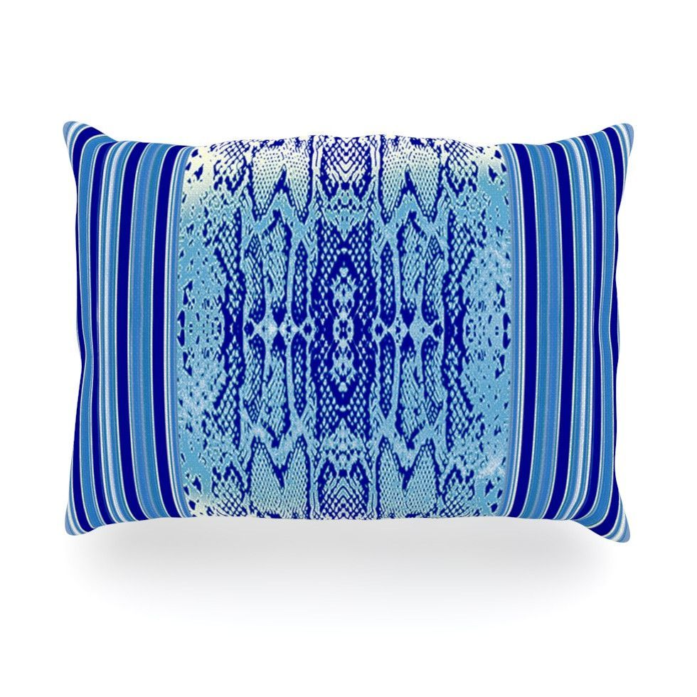 "Nina May ""Delf Snake"" Blue Aqua Oblong Pillow"