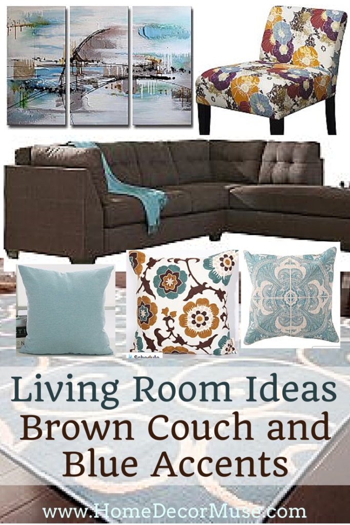 Brown sectional sofa plus blue living room inspiration for Brown couch decorating ideas