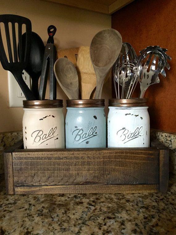 Mason Jar Utensil Holder Kitchen Organizer Storage