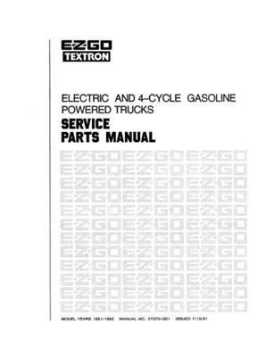 EZGO 27070G01 1991-1992 Service Parts Manual for Electric