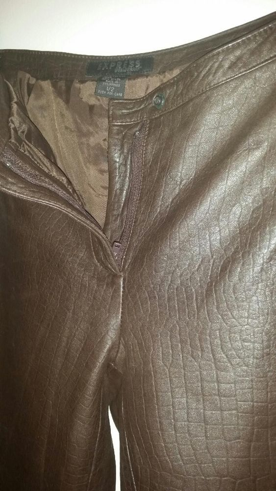 Chocolate Brown Sexy Leather Pants Size 1/2 by Express #Express #Leather