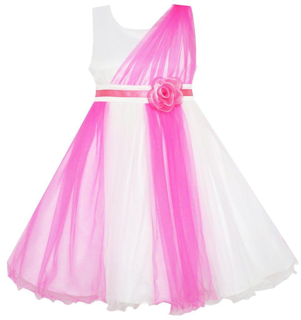 Girls Dress Elegant Wedding Gown Bridesmaid Tulle Flower Size 4-10 ...