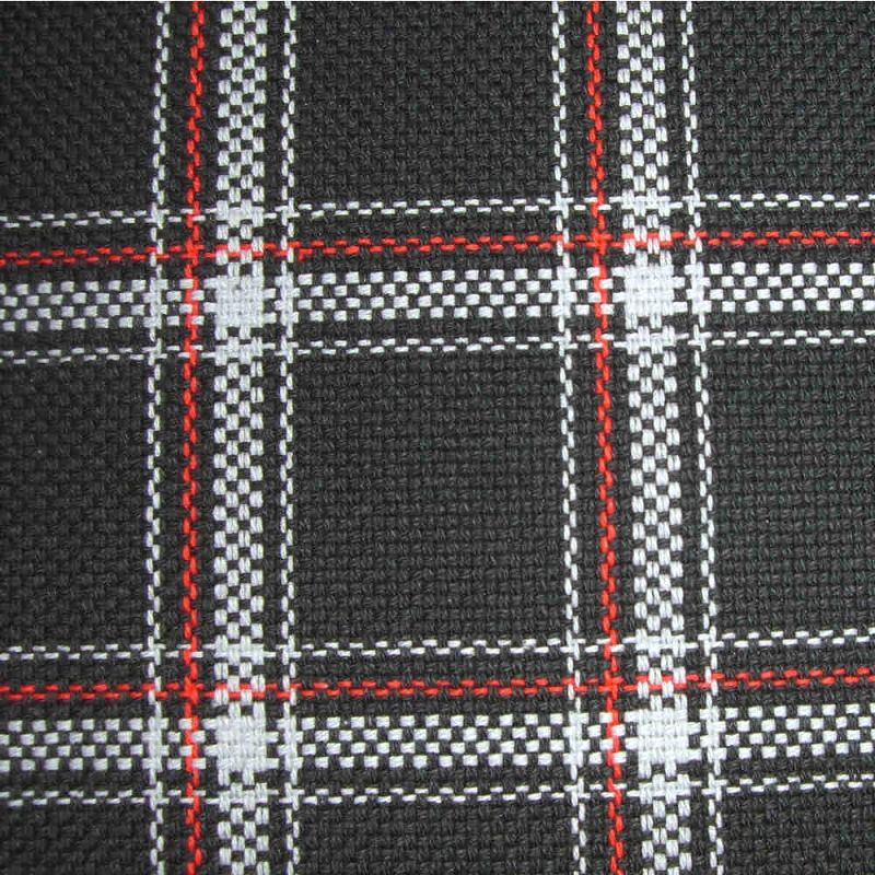 Upholstery by Linear Yard - White / Black / Red Plaid, VOLK18063