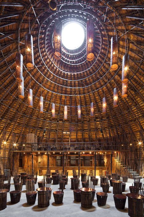 interior, Wind and Water Bar by architects Vo Trong Nghia built with bamboo (a fast-growing renewal resource), without a single nail, Binh Duong Province, Vietnam