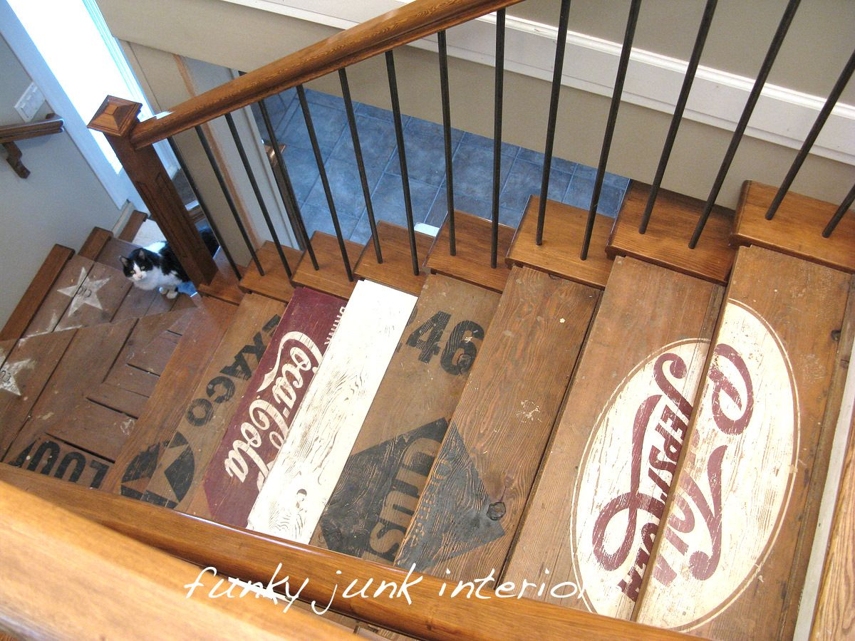 Painted Wood Stairs Painted Wooden Crate Stairs Vintage Style Caves And Stenciled