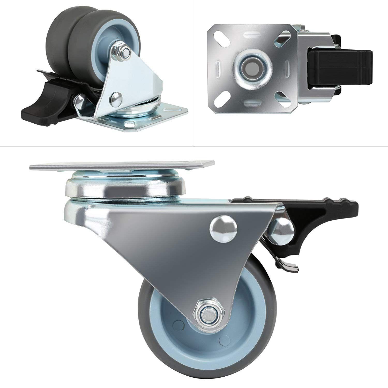 4 X New Heavy Duty Swivel Castor Wheel 50mm With Brake For Trolley