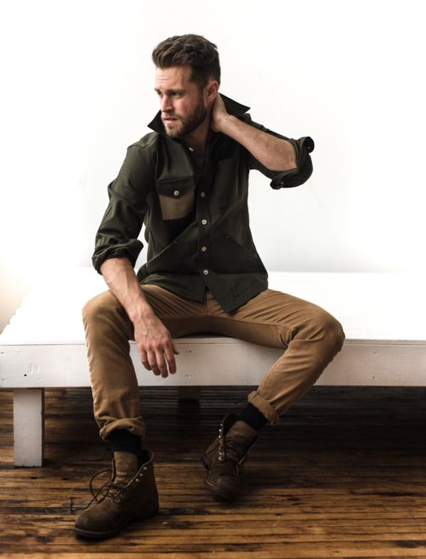 Men's Olive Long Sleeve Shirt, Khaki Chinos, Brown Leather Boots ...