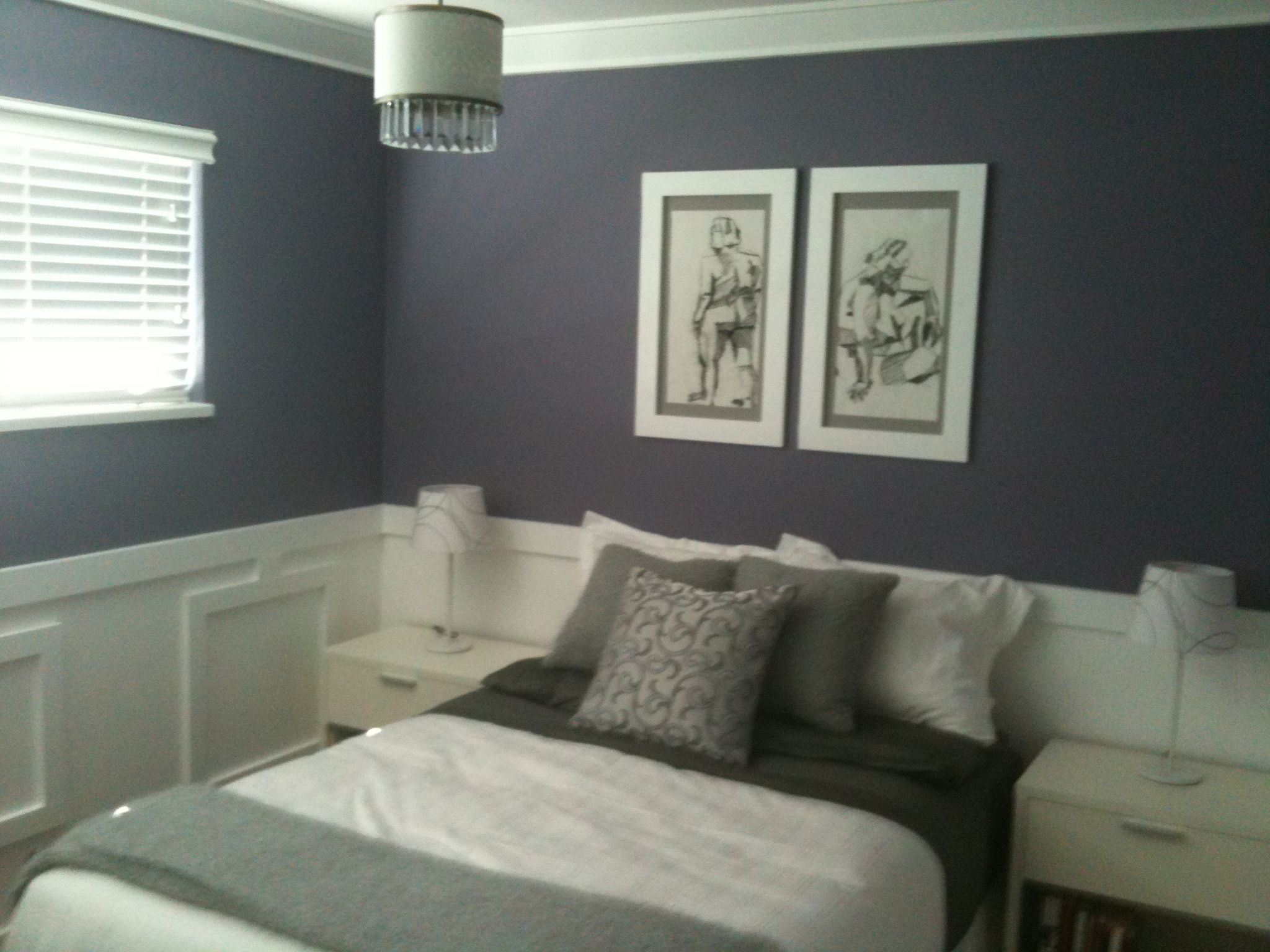 Added the wall squares, chair rail, crown, baseboards and a $40 chandelier from Norburn.