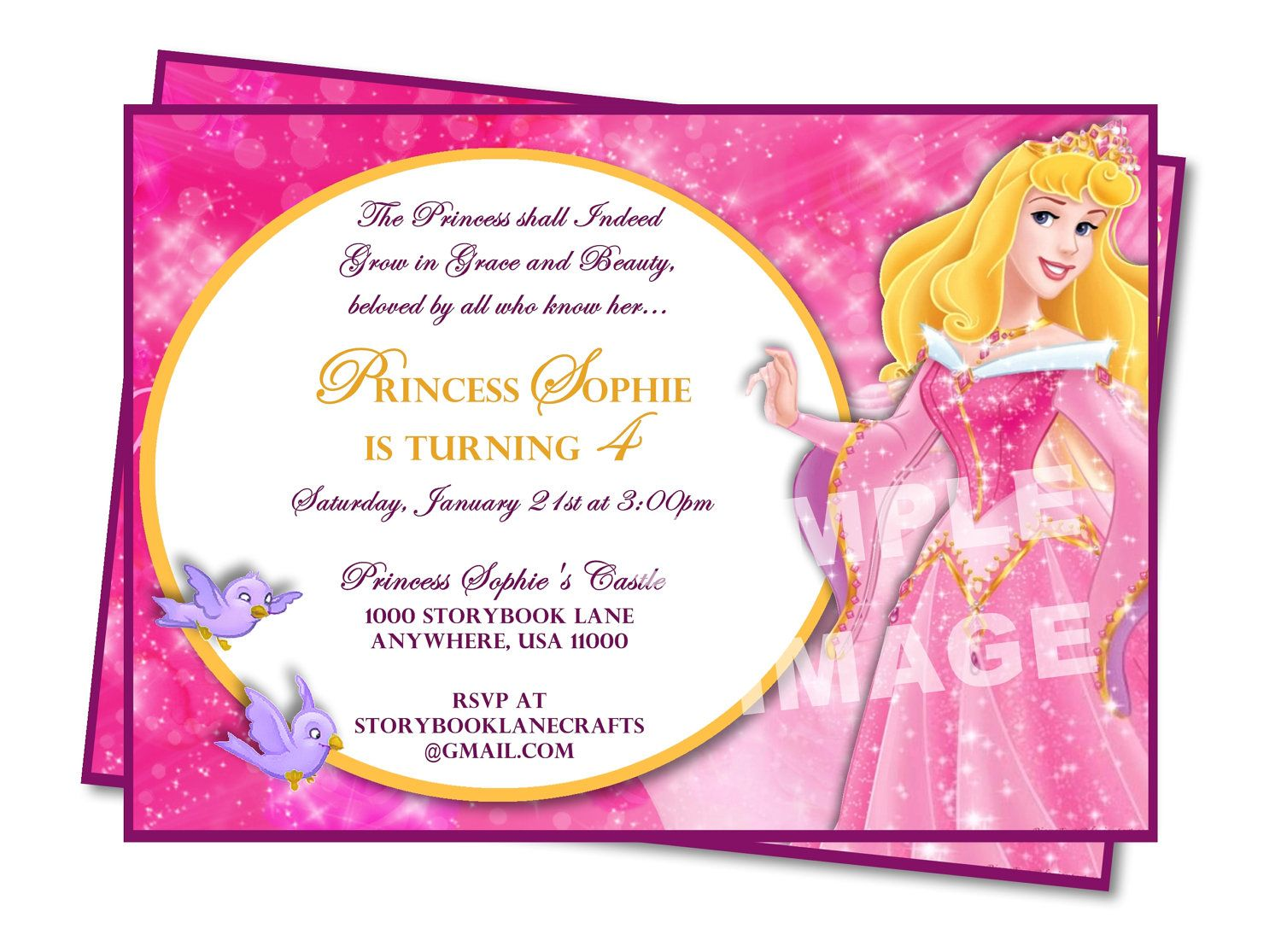 Aurora Invitation Sleeping Beauty Invitation Disney Princess – Disney Princess Printable Birthday Cards